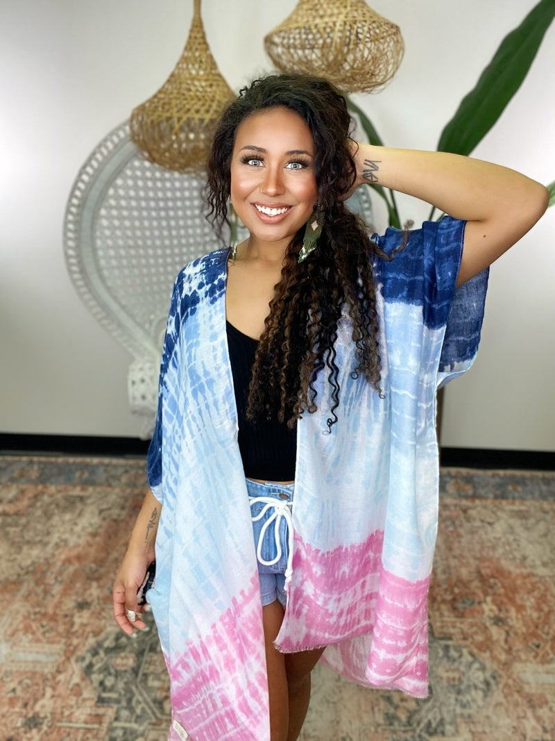 Girls Day Tie Dye Kimono - Navy