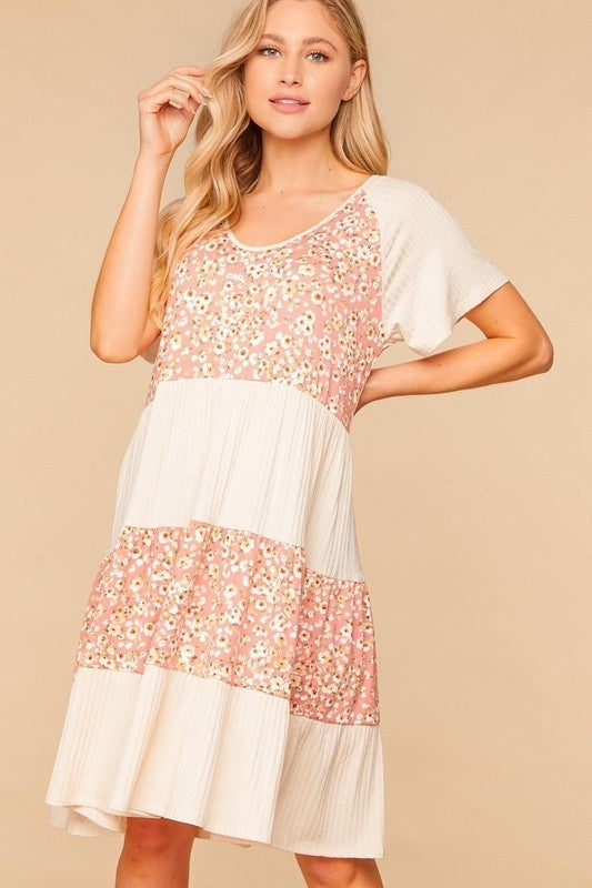 Bouquet Of Flowers Floral Striped Dress