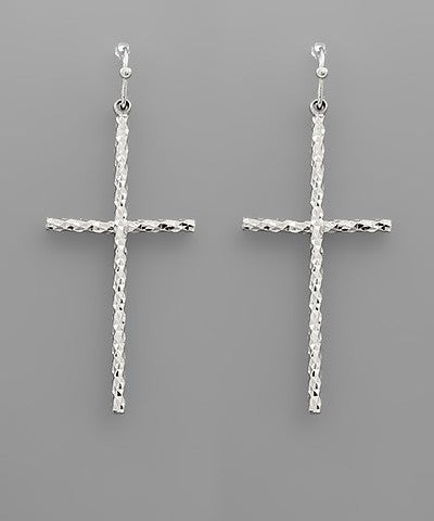 Silver Cross Drop Earrings