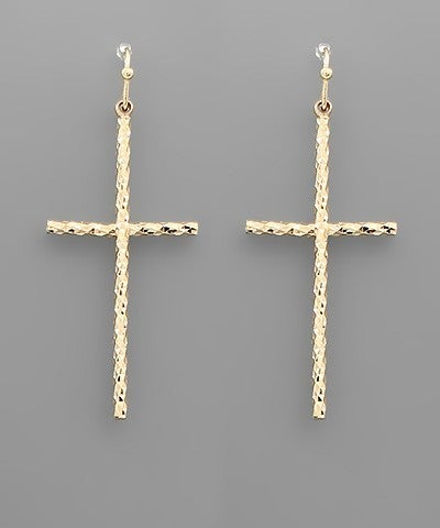 Gold Cross Drop Earrings