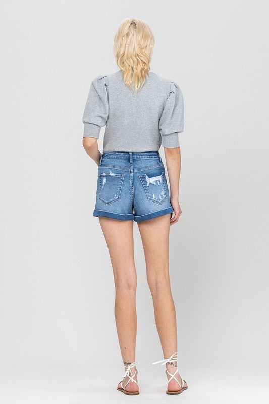 Super High Rise Denim Perfect Place Mom Shorts