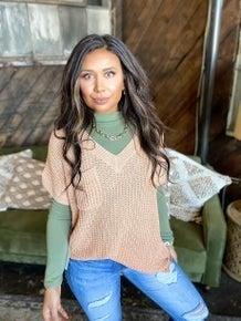 Myla Sweater Top - Peach