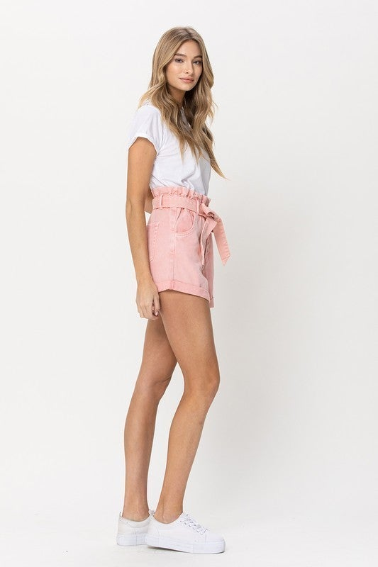 Super High Rise Pink Paperbag Mom Shorts