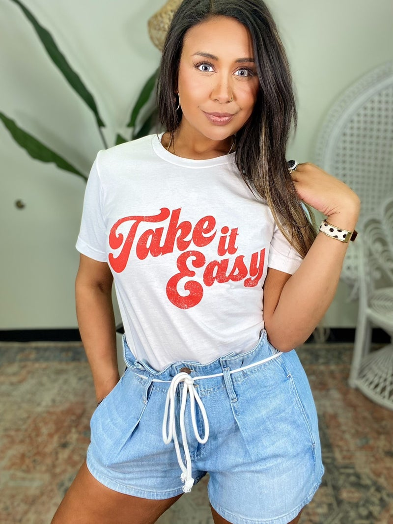Take It Easy Graphic Tee - White