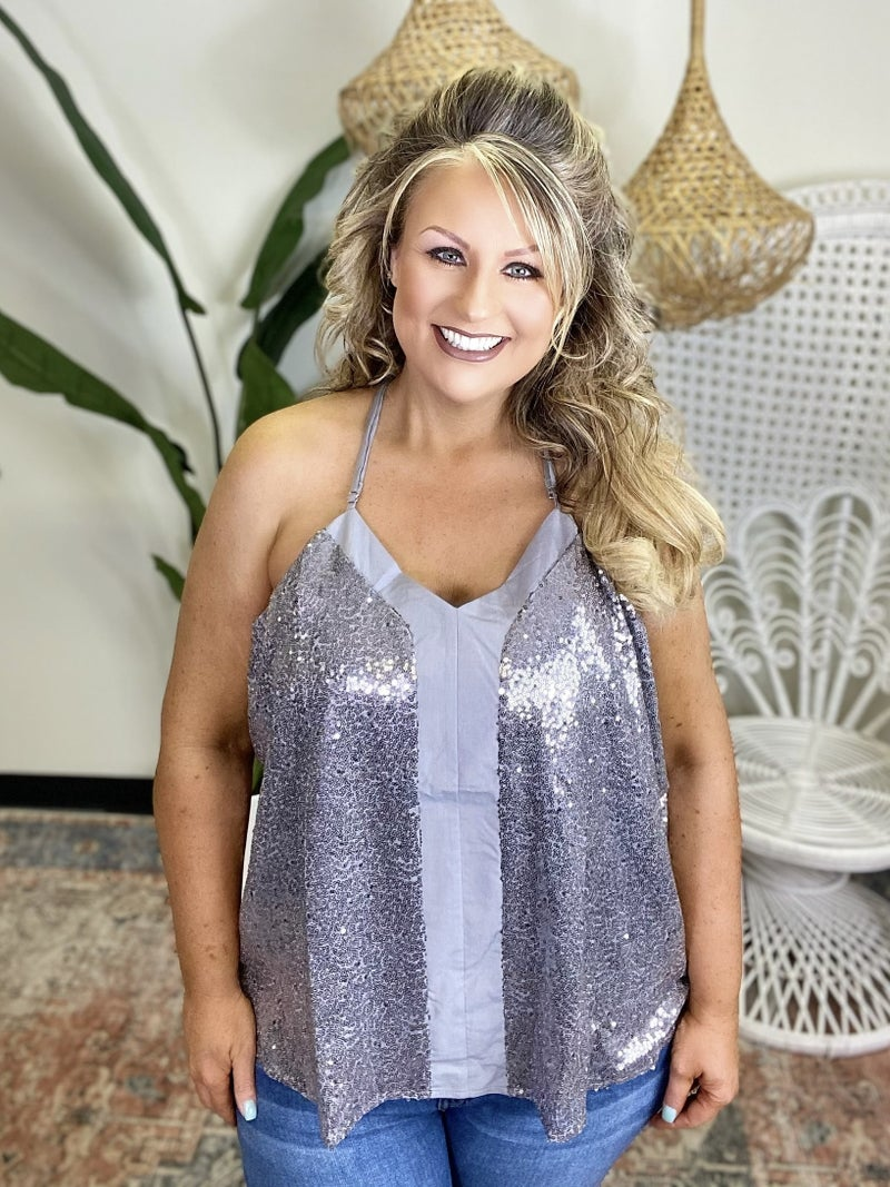 All The Fun Sparkle Cami Top - Silver