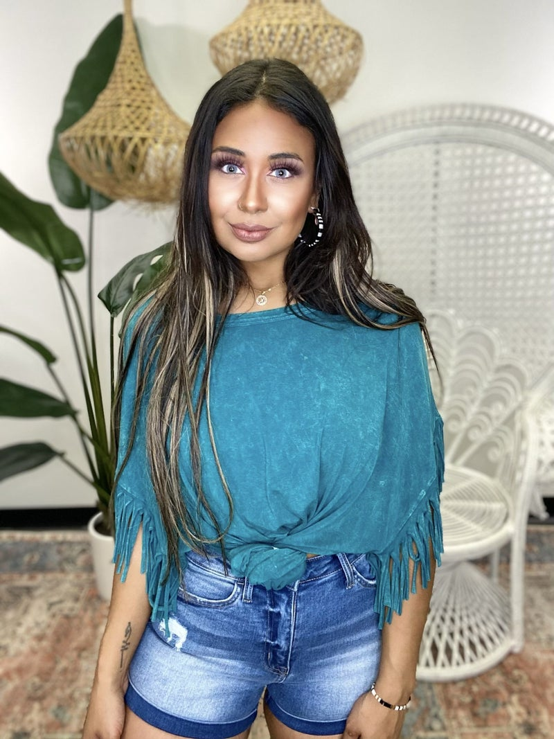 Tassel Me This Top - Turquoise