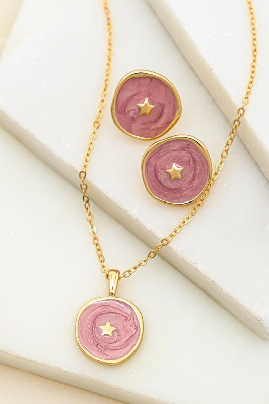 Coin Of Stars Necklace & Earrings Set