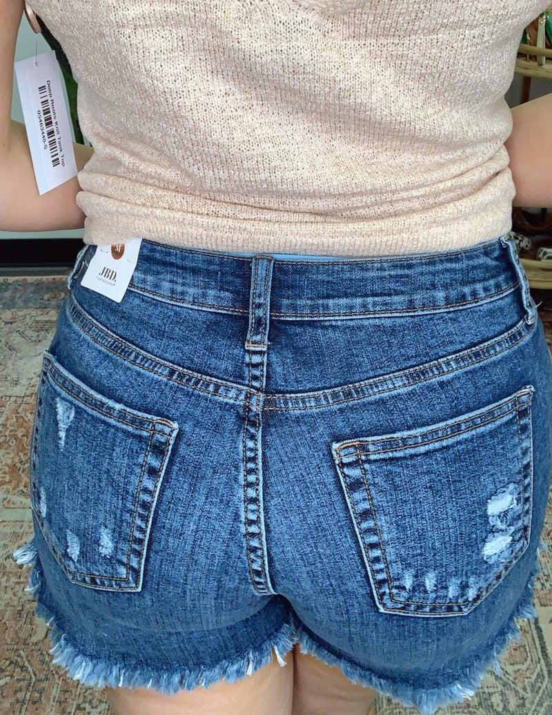Curved Fray Hem Denim Shorts