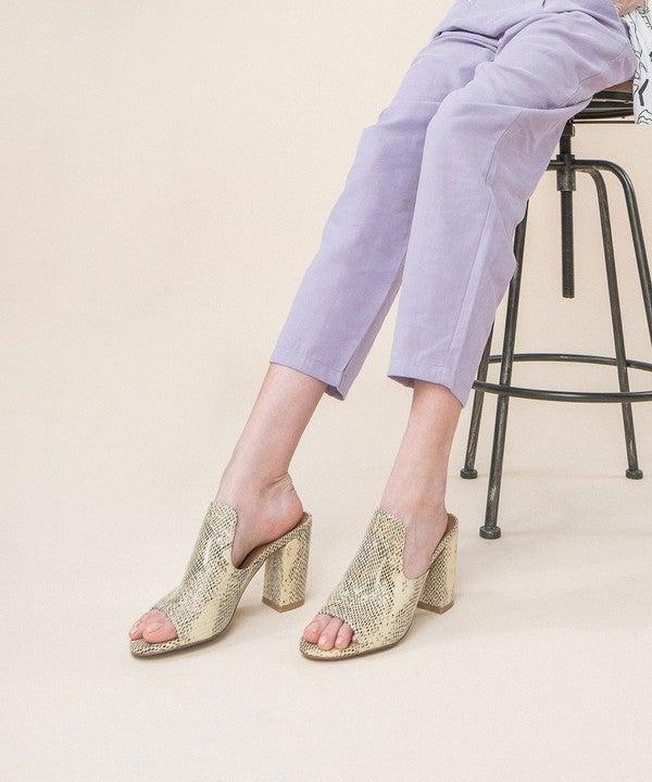 Crown Snake Print Chunky Heel