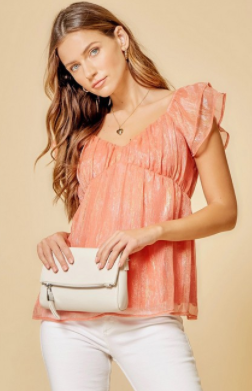 Shimmer Top - Coral