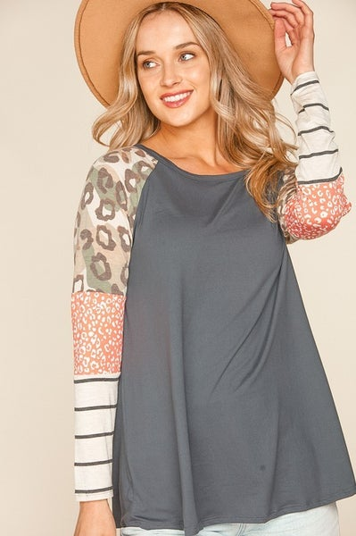 Party Like A Leopard Color Block Top
