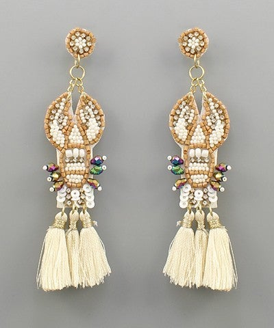 Lobster Tassel Earrings - Ivory