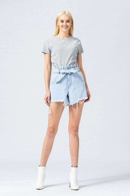 Denim Paperbag Mom Shorts