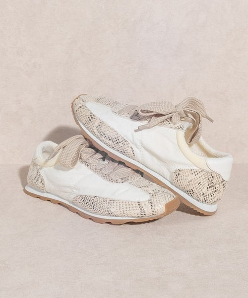 Hayley Sporty Snake Sneakers - White