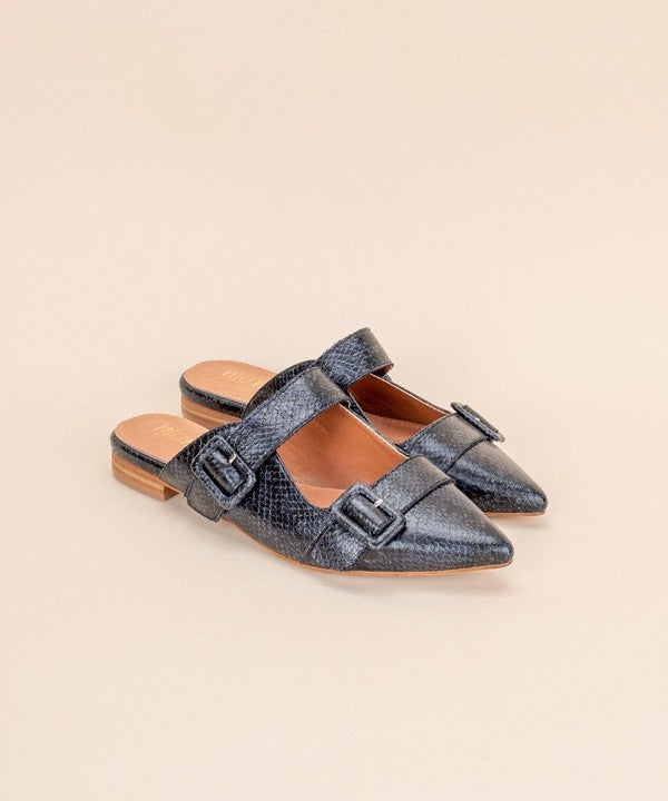 Snake Print Buckle Pointed Mules