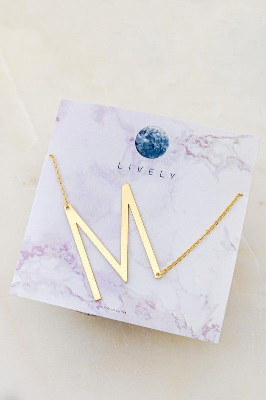 Block Letter Pendant Necklace