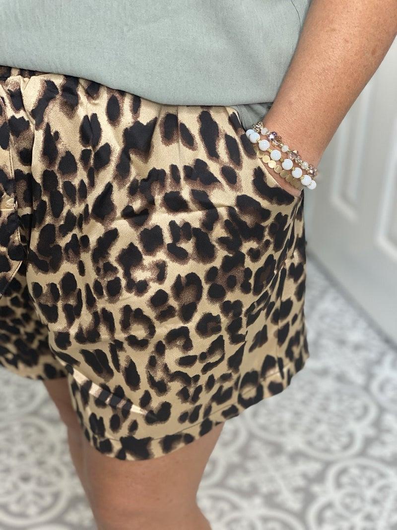 Leopard Satin Shorts PLUS