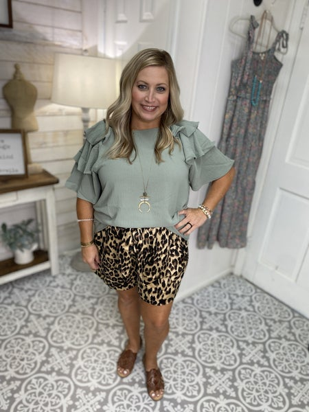 Leopard Satin Shorts PLUS