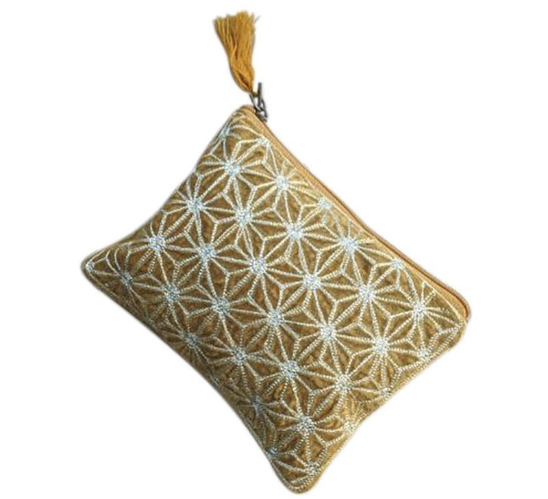 Yellow Flower Bursts Medium Pouch