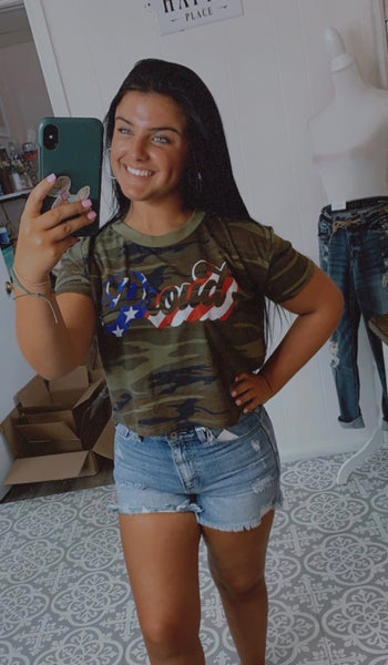 Proud Camo Cropped Top