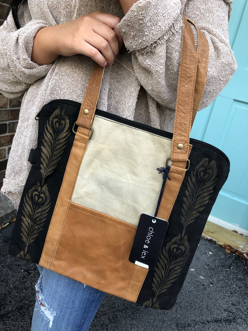 Golden Feathers Tote