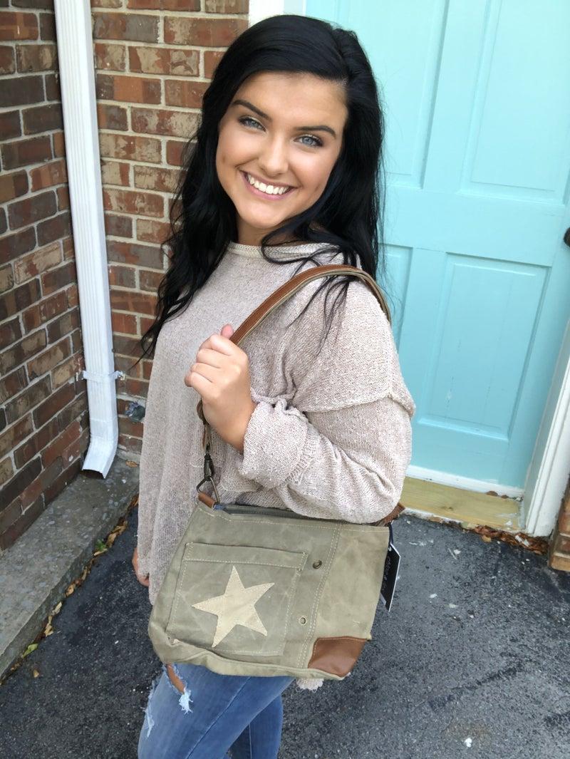 Canvas Leather Star Bag