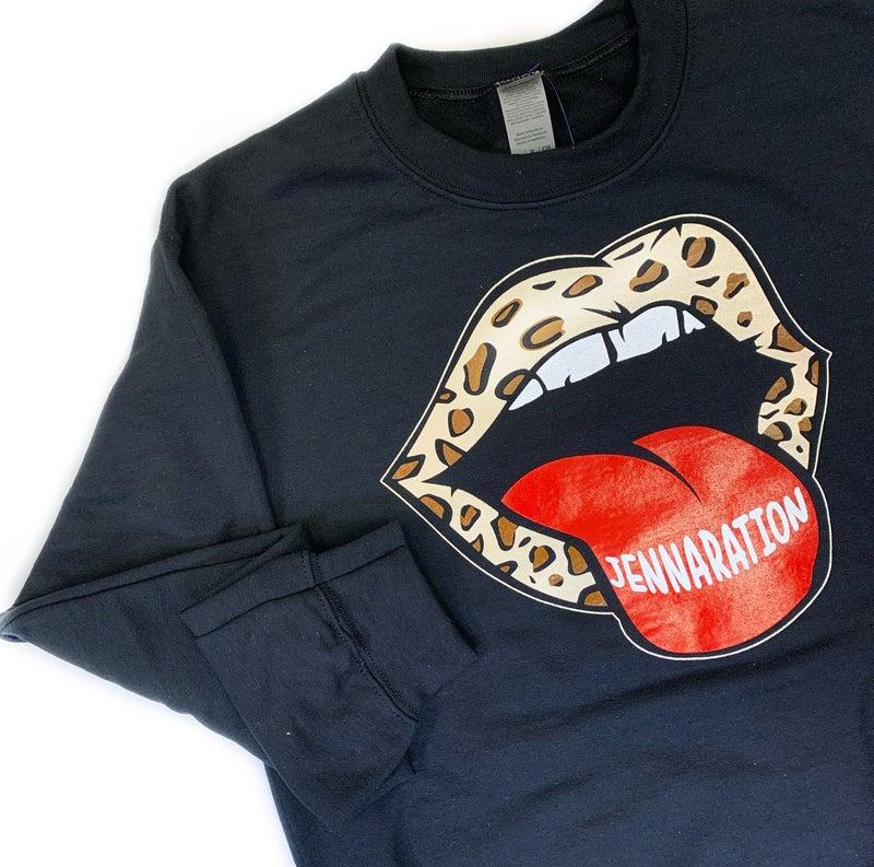Jennaration Leopard Tongue Sweatshirt