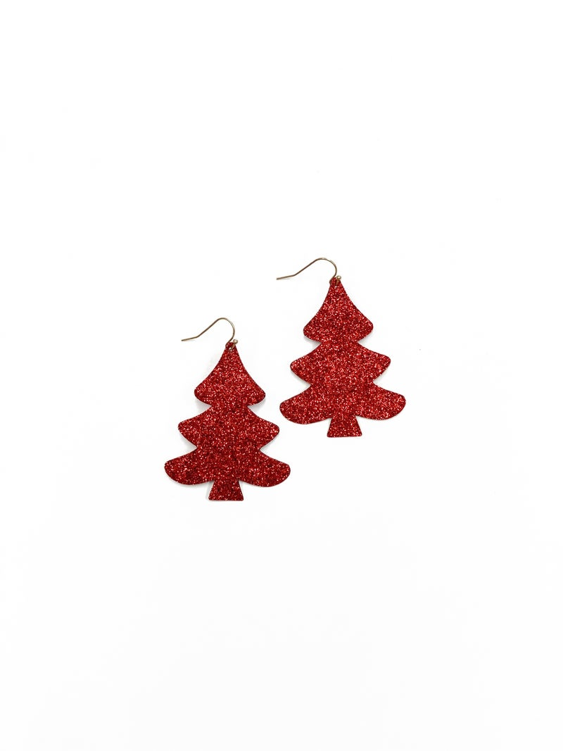 Red Sparkle Christmas Tree Earrings