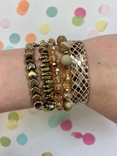 Don't Let Go Bracelet Stack Gold