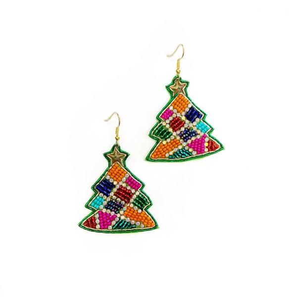 Glitzy Multi Beaded Tree Earrings