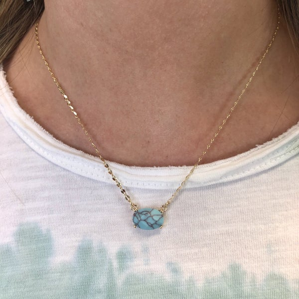 Turquoise Gold Dainty Necklace FINAL SALE