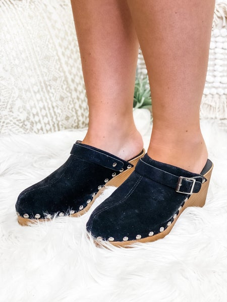 The Piper Clog Black Suede