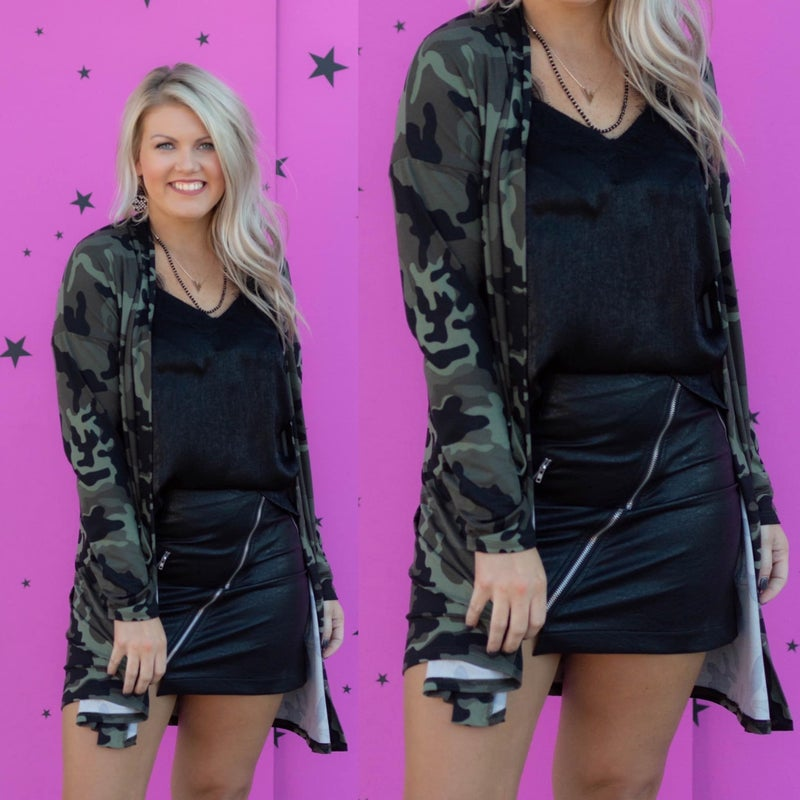 All About It Camo Cardigan