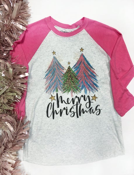 Merry Christmas Tree Raglan