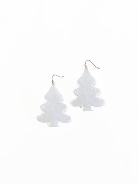 White Glitter Tree Earrings