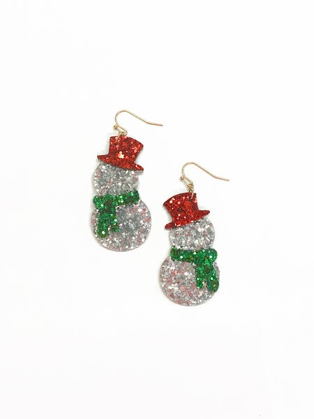 Glitter Snowman Earrings