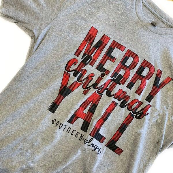 Plaid Merry Christmas Y'all Tee