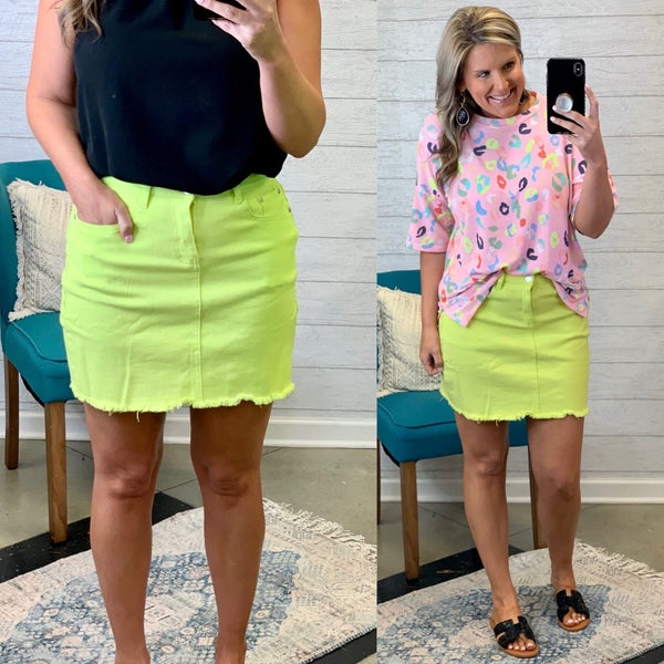 Just In Time Denim Skirt Lime