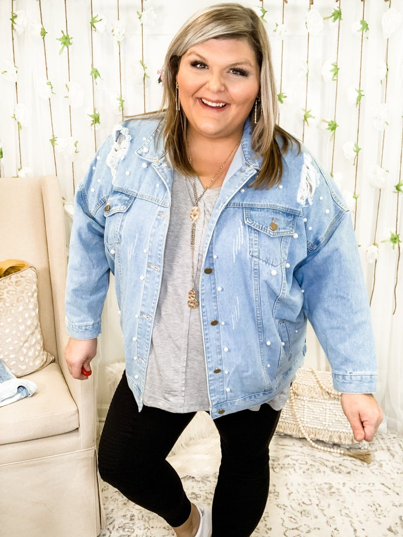 Days Of Pearl Denim Jacket Plus