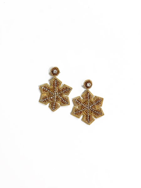 Glitzy Snowflake Earrings Gold