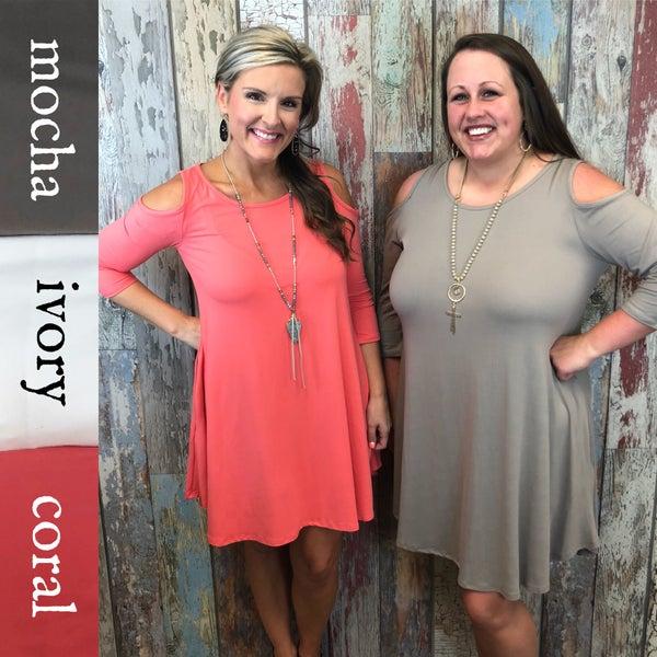 Cold Shoulder Pocket Dress FINAL SALE *Final Sale*