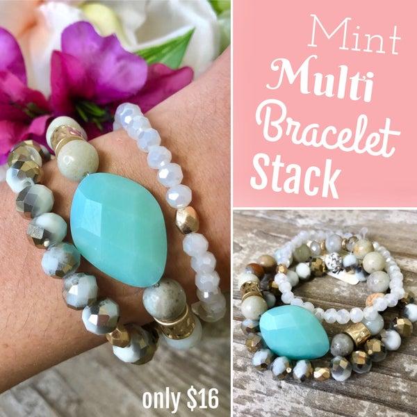 Mint Multi Bracelet Stack