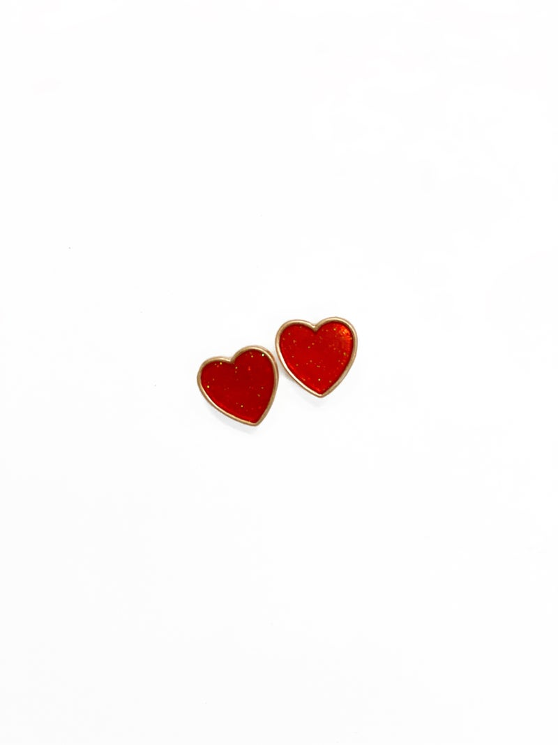 Red Glitter Heart Studs