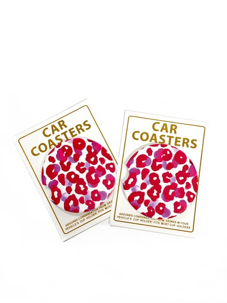 Red Leopard Car Coaster Set