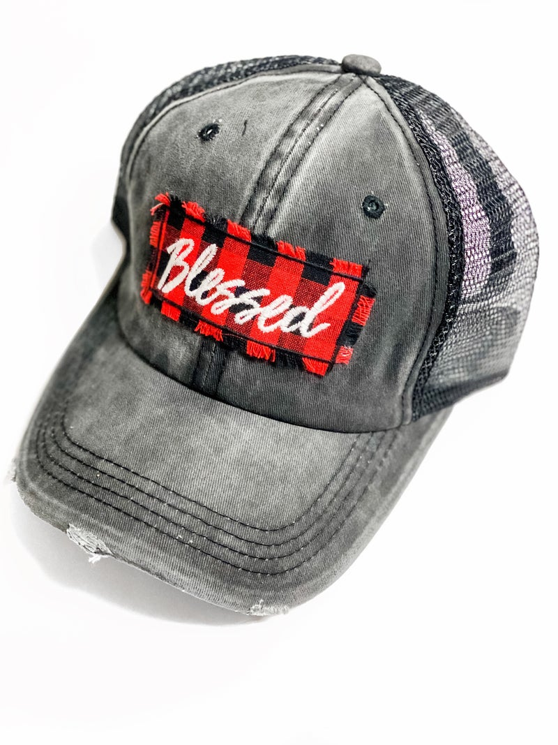 Plaid Blessed Hat