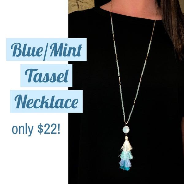 Blue/Mint Tassel Necklace