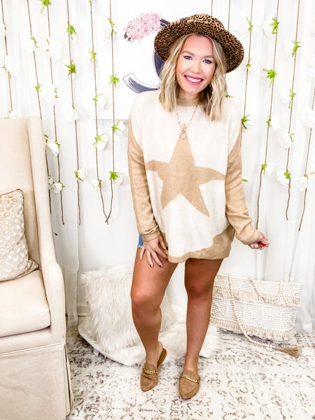 Wishing On A Star Sweater Khaki