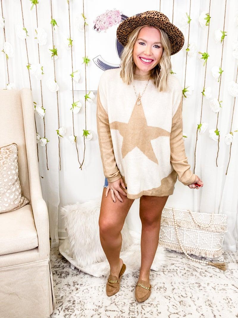 Wishing On A Star Sweater Khaki