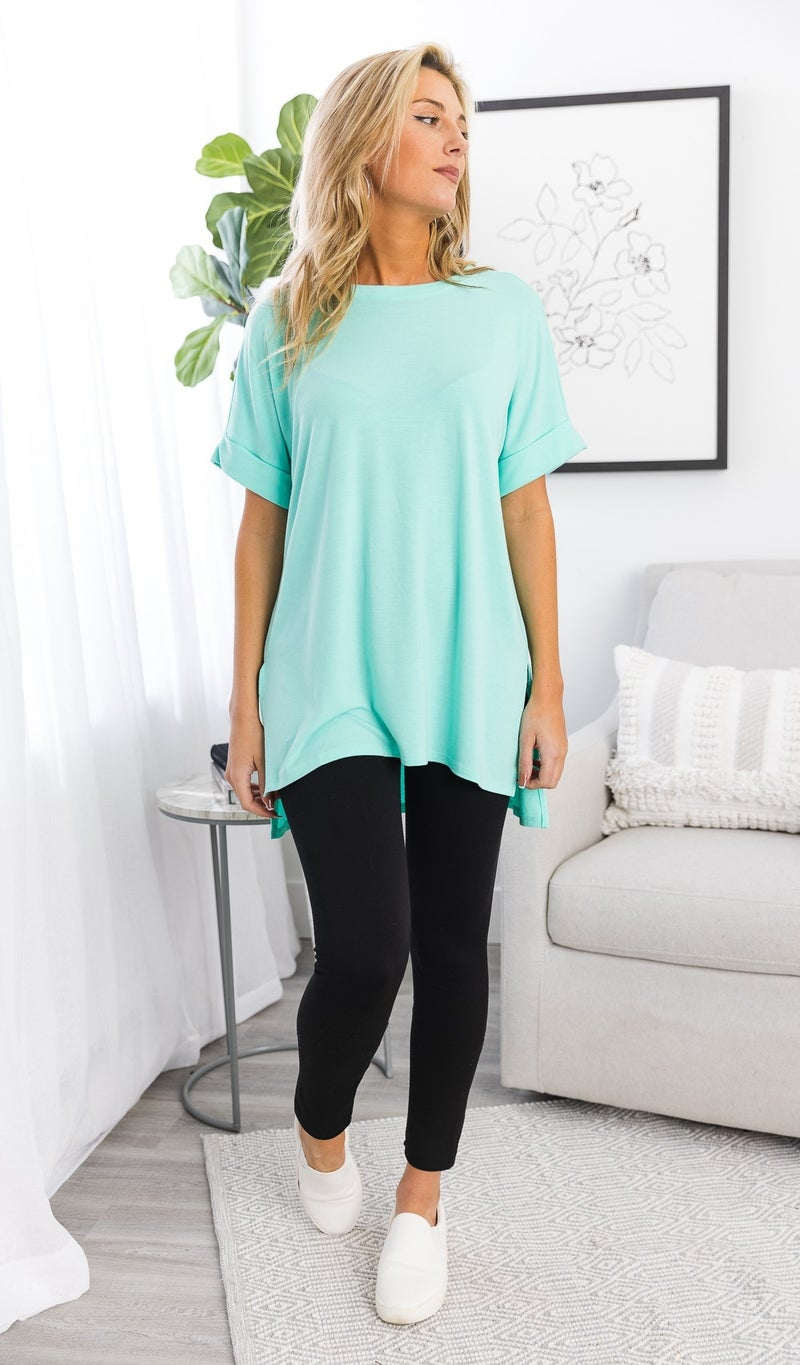 The Isabella Oversized Tee, Teal or Mint
