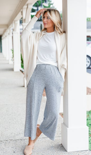 Like A Cloud Wide-Leg Pant, Grey,  Oatmeal, or Charcoal